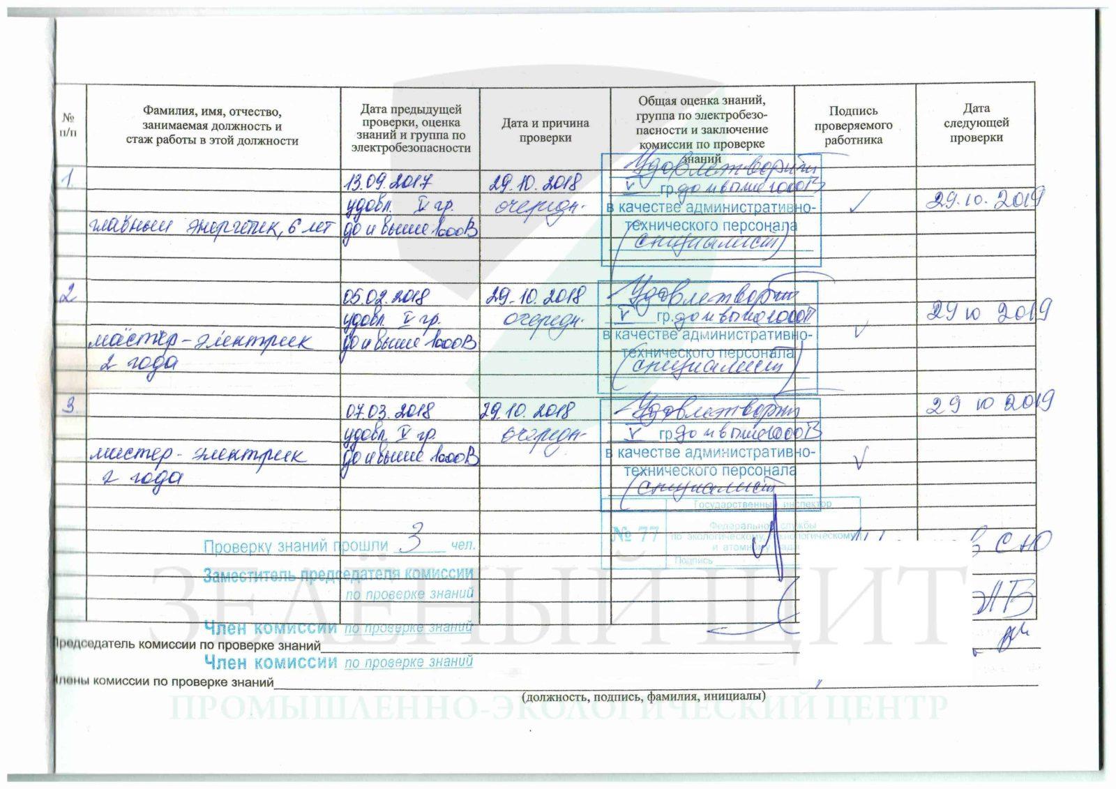 Инспектирующий персонал электробезопасность распоряжение о присвоении 1 группы по электробезопасности